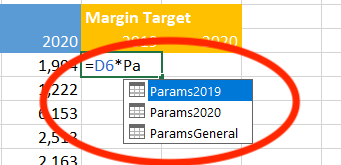 Excel tables offer table name autocomplete