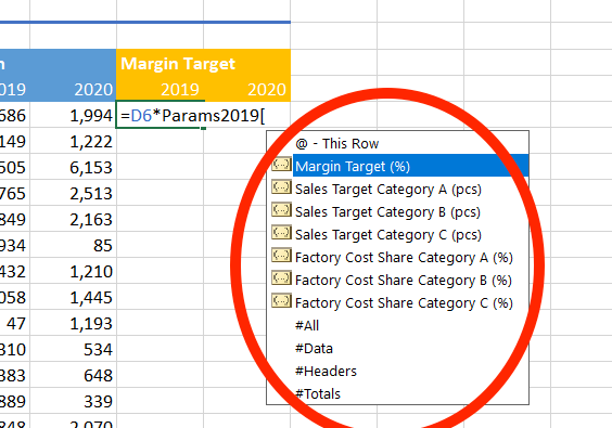 Excel tables offer column-name autocomplete