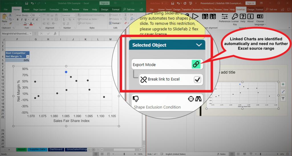 New SlideFab 2 v1.5 Export Mode: Linked Chart