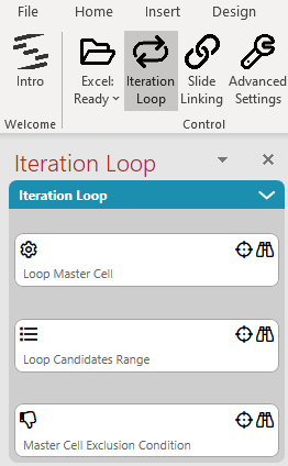 The Iteration Loop side pane of SlideFab 2 is used to define the main automation logic