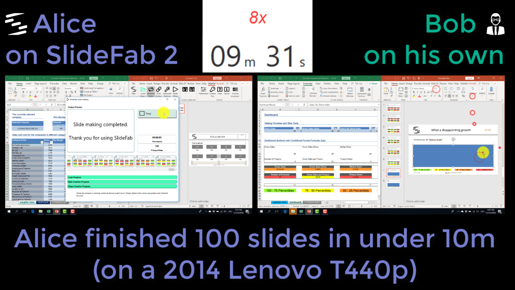 Screenshot from competition video showing Excel to PowerPoint automation results of SlideFab 2 vs human brute force