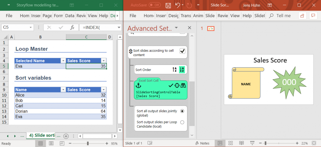 Slide sorting Excel setup for SlideFab 2