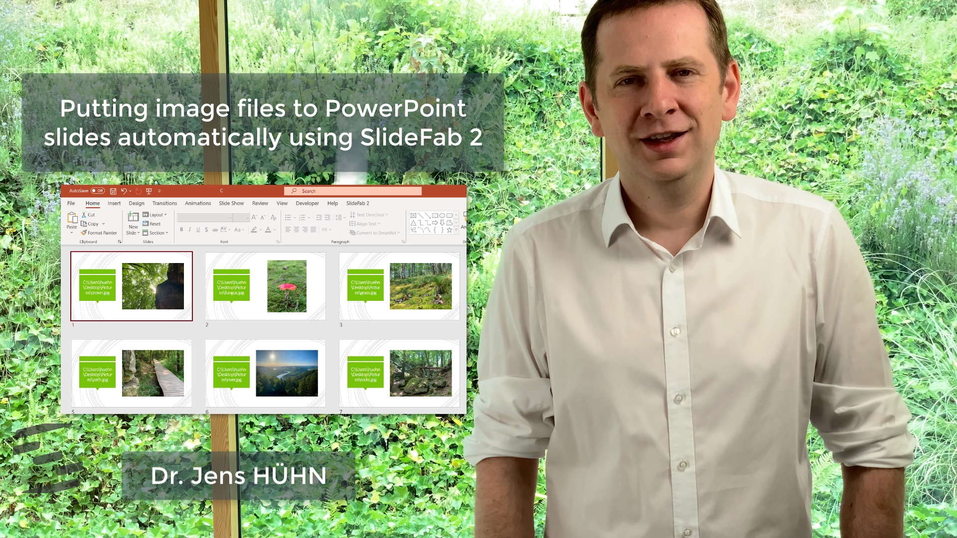 This is a still picture from the video explaining how to put image files onto PowerPoint slides with SlideFab 2 automatically