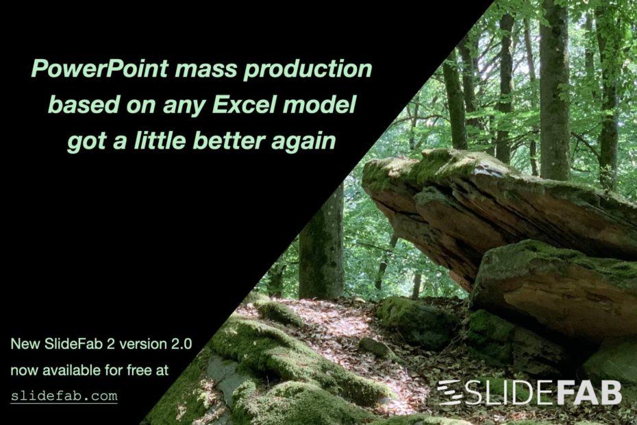 Mood image highlighting new version 2.0 of SlideFab 2