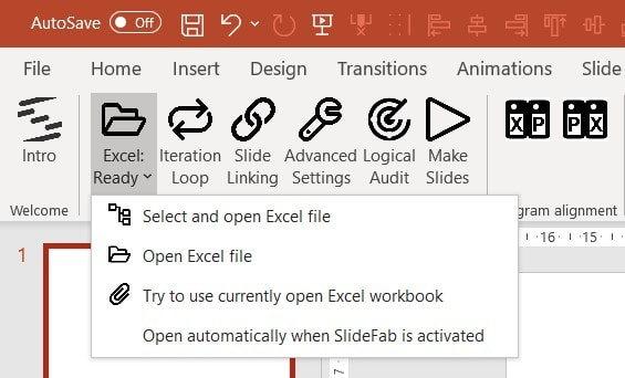SlideFab ribbon button to connect the PowerPoint presentation with an Excel workbook